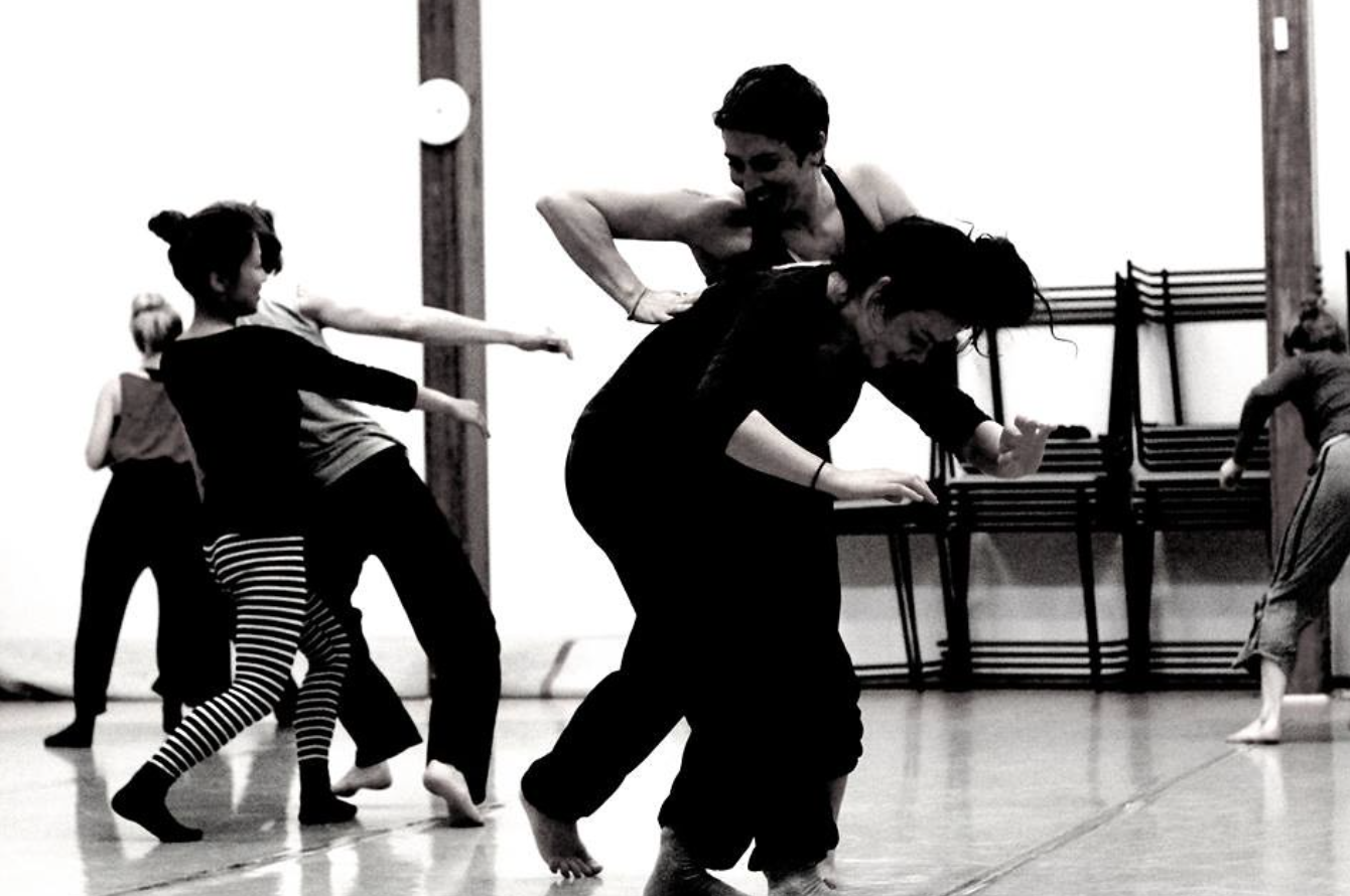 Artistic shot of dancers dancing in the studio
