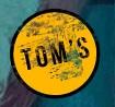 TOM'S yellow logo.
