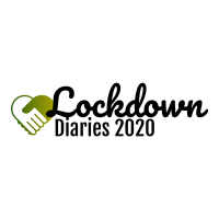 Lockdown Diaries 2020 logo. Two hands shaking form a love heart.