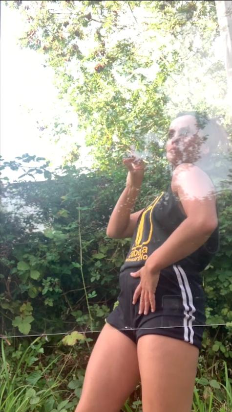 Dancer in garden with editing