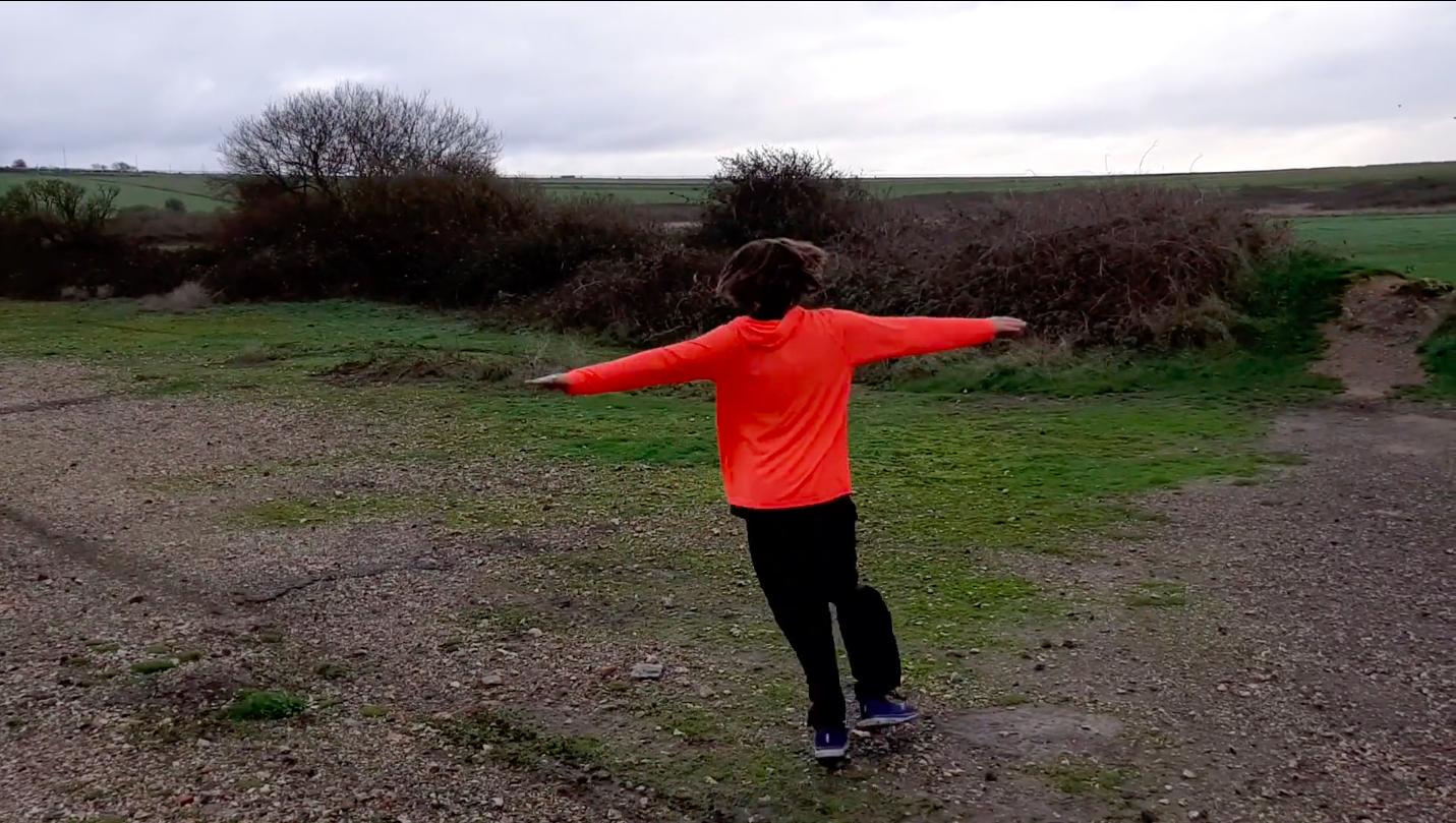 Orange jumper wearing person in field
