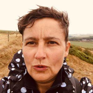 Photogrpah of Viv Gordon on a Sussex Downs walk.