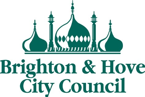 Green logo with the Brighton Pavillon on it and Text Reads Brighton & Hove City Council