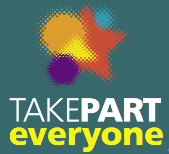 Logo with colourful stars and circles. Text Reads: TAKEPART everyone
